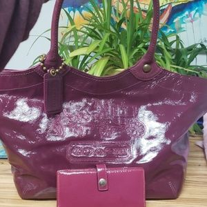Beautiful berry patent leather Coach set!